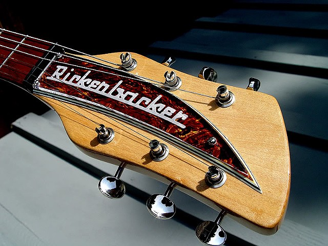 Rickenbacker Custom 430 in Transparent Cherry--Headstock With Custom Tortoise Nameplate