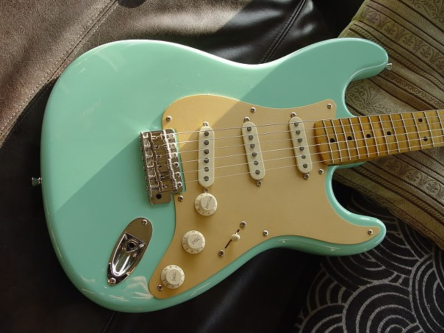 Fender '59 Strat Custom Build in Foam Green--Front of Guitar: Gold Guard, Figured Maple Neck, Aged Plastic, Old-Style Vibrato