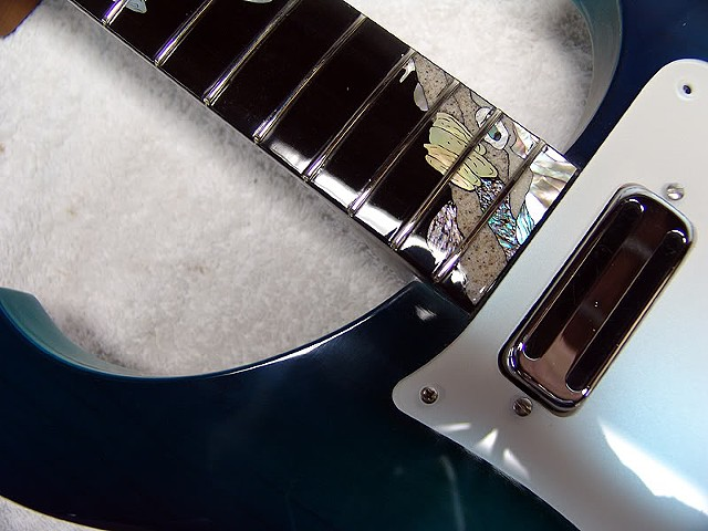 "Rickenbacker 4000 ""AquaBass""--Detail Showing Pickup, Pearl Guard, Inlaid Ebony Fretboard"