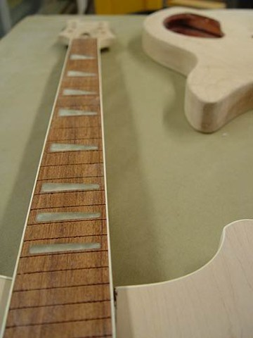 Rickenbacker 481 Blueburst Restoration--Newly-Sanded Fretboard Before Refret