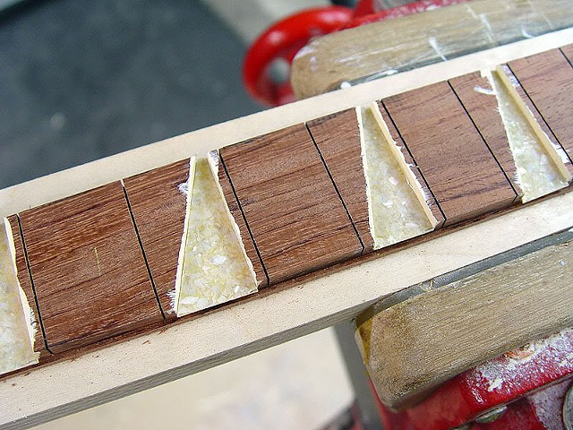 Rickenbacker 360F in Jetglo--Fret Marker Inlays Fitted into Place