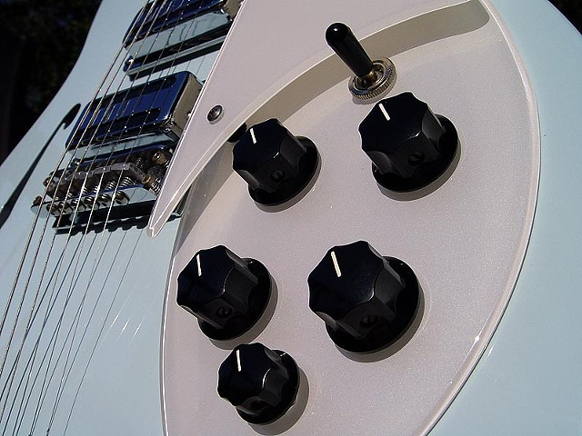 Rickenbacker RM 1998 in Custom Blue Boy  Finish--Detail of Pearl White Pickguard