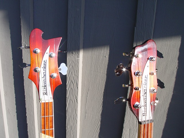 Rickenbacker 4005 and 4005/8--Headstock Detail in Bright Sunlight