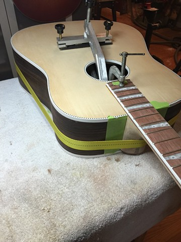 GLUING NECK AND BRIDGE INTO PLACE