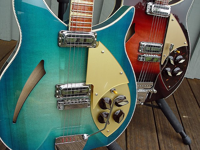 "Rickenbacker 1960 Capri ""Isle of Capri""--Detail of Tops of Two Custom 1960 Capris"