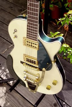 Gretsch Custom Hollow-Bodied Pro Jet: Close Up of Top of Finished Guitar