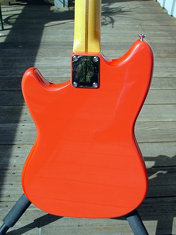 Fender Duo-Sonic Custom Build in Fiesta Red--Back View Showing 5-Digit Serial Number Neck Plate