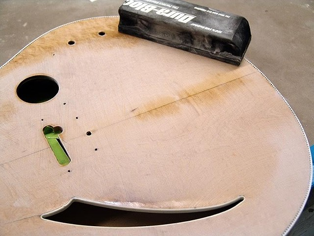 Rickenbacker 360F in Jetglo--Filling Top with Epoxy to Remove Dip