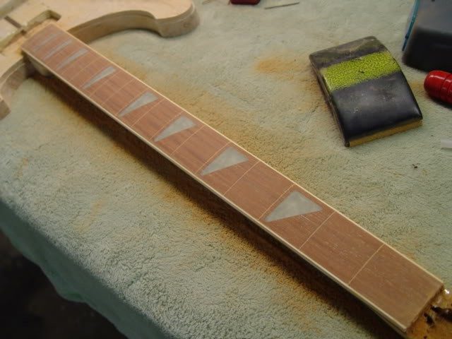 Fretboard Sanded, Ready for Refretting