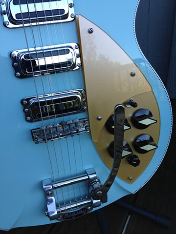 Rickenbacker 330 Custom Double-Bound 21-Fret Conversion--Detail of Top Showing Custom Pickguards, Toaster Pickups, Bigsby B5 Installed