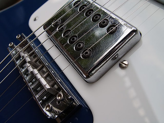 Rickenbacker 481 Azureglo Slant Fret Restoration--Detail of Pickup and Bridge