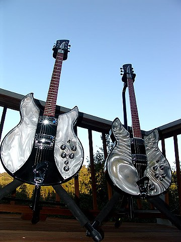 Rickenbacker Light Show Solid State Conversions--Solid State and Original Jetglo Light Shows Posing on Deck