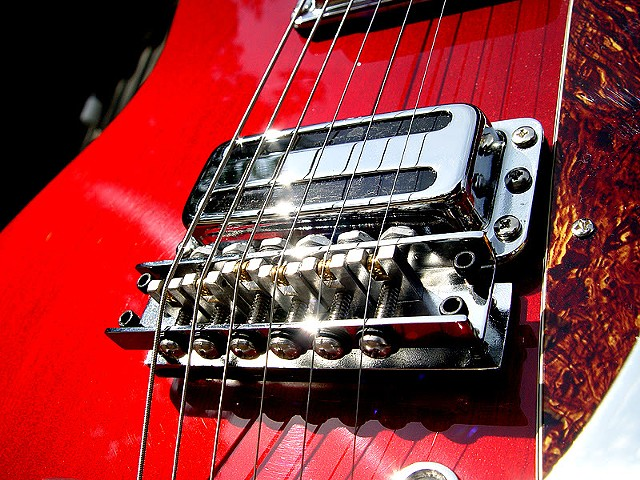 Rickenbacker Custom 430 in Transparent Cherry--Close Up of Bridge and Bridge Pickup