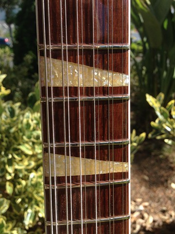 Crushed mother of pearl fretboard inlays
