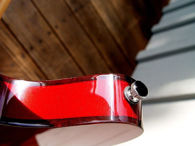 Rickenbacker Custom 430 in Transparent Cherry--Extreme Close Up of Bass Horn Showing Tortoise Binding Against Cherry Finish