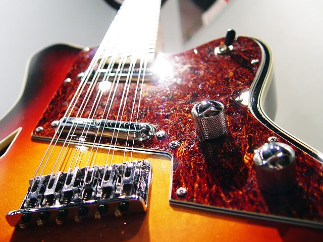 Charvel Surfcaster 12-String Restoration--Another Low-Angle View, Dominated by Custom Tortoise Shell Pickguard