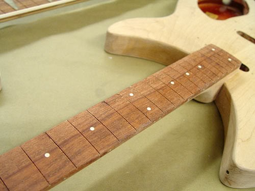 Rickenbacker 330 in Custom Purple Burst--Detail of Stripped Fretboard