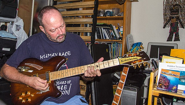 "Rickenbacker 380L 12-String Conversion--Tim Trying it Out. Note ""Tumon Bay"" Acoustic in Background"