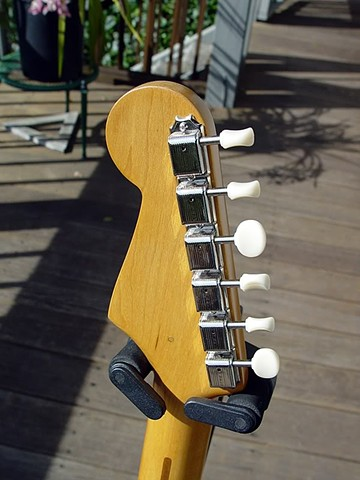 Fender Duo-Sonic Custom Build in Fiesta Red--Back of Headstock with Budget Kluson Tuners