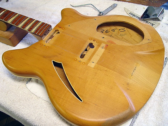 Rickenbacker 1966 Mapleglo Re-Commission--Body with Distressed Finish, Before Reassembly