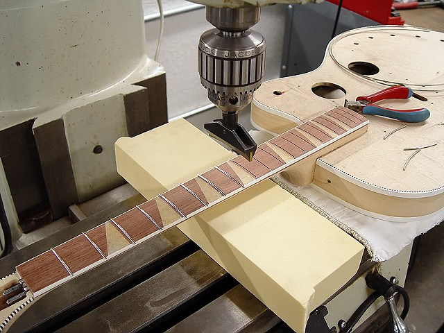 Rickenbacker 360F in Jetglo--Pressing Frets into Place