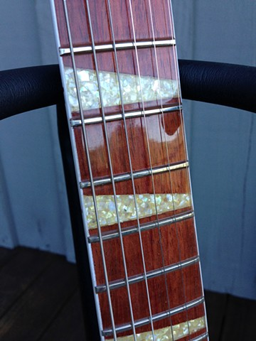 Rickenbacker 330 Custom Double-Bound 21-Fret Conversion--Detail of Crushed Pearl Fretboard Markers