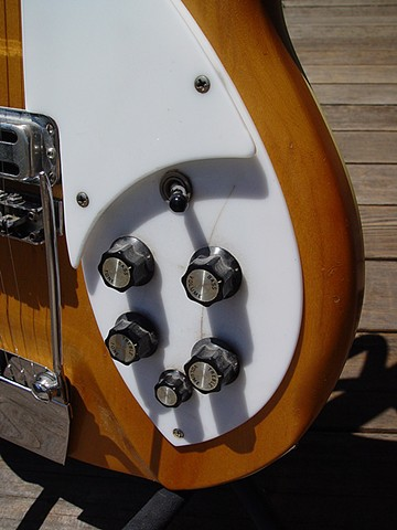 Rickenbacker 1966 Mapleglo Re-Commission--Lower Body Showing Distressed Finish, Original Pick Guards