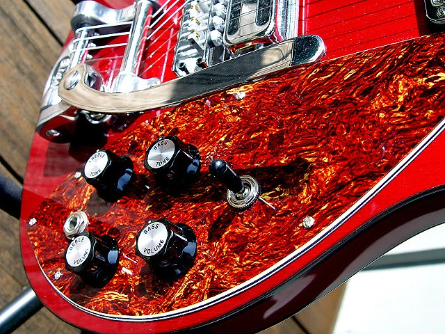 Rickenbacker Custom 430 in Transparent Cherry--Detail of Tortoise Pickguard and Controls