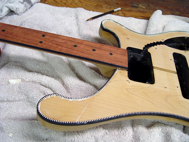 "Rickenbacker ""Shadow"" Fretless 4003 Bass--Purfling and Binding in Place"