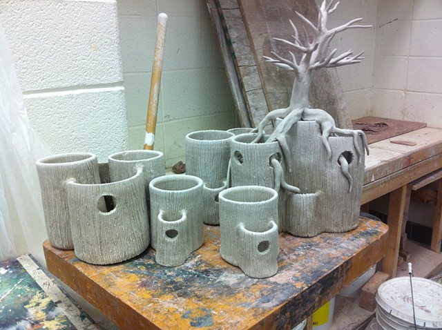 Vase form set, in progress