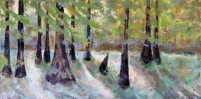 """Overcast swamp"" 15"" x 30"" acrylic on canvas $525.00 Amanda Holt Robicheaux"