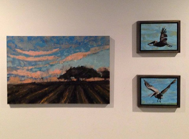 Harvested field with oak with smaller birds exhibit at Ballet Academie