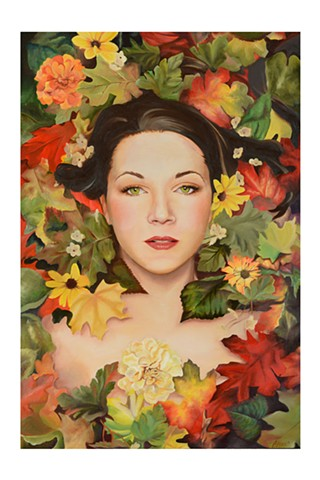 Bryanna Marie oil painting of a woman coming out of autumn leaves Bryanna Marie