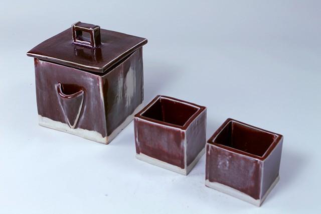 clay stonewear porcelain melanie maglieri cube modern tea pot teapot
