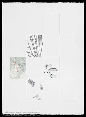 intaglio print with chine collé, fires in Indonesian rainforests, musical notation, particle physics tracks, and seeds by Lauren Gohara