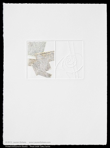 intaglio print with chine colle, reproductions of news clippings, and embossed particle physics tracks, by Lauren Gohara