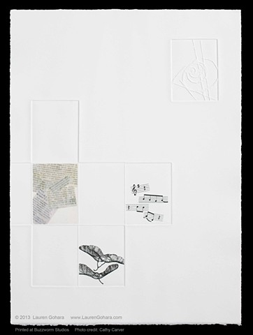 intaglio print using chine collé and etched plates with music, newspaper clippings, particle physics tracks, and seeds on Somerset paper by Lauren Gohara