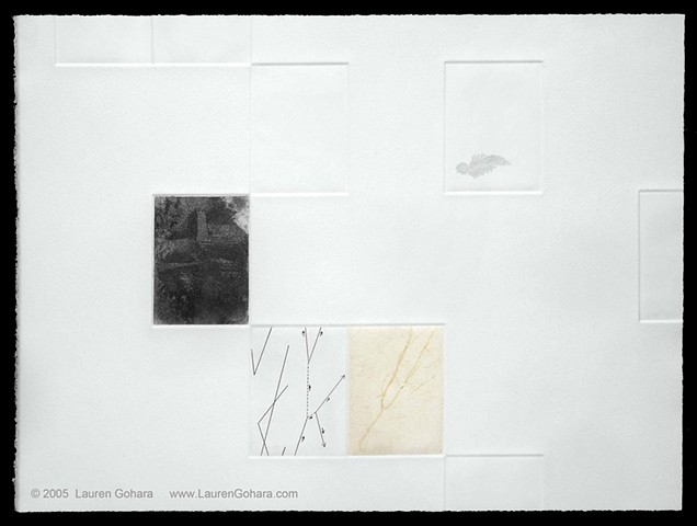 intaglio print using chine colle and etched plates with abstract landscape, particle physics tracks, and feather by Lauren Gohara