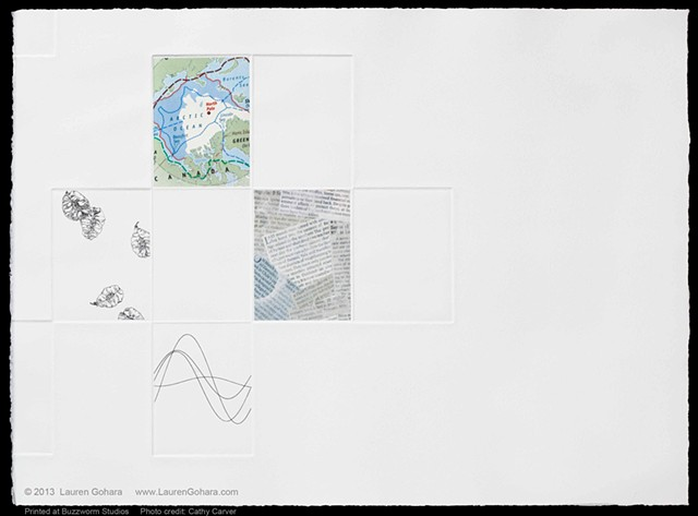 Intaglio print with chine colle, sine waves, news clippings, shrinking Arctic ice sheet, and seeds by Lauren Gohara