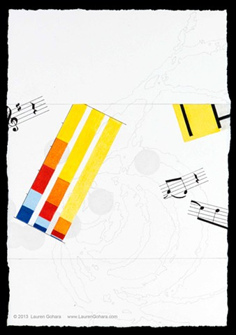 drawing of inequality in the U.S., Mondrian, music, particle physics tracks, and dots by Lauren Gohara