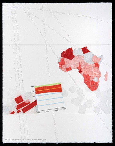 drawing of middle class in Africa, Malevich, particle physics tracks, and dots by Lauren Gohara