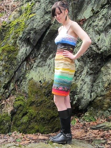 rainbow patchwork dress