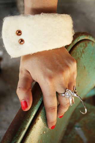 elephant head cocktail ring industrial cuff