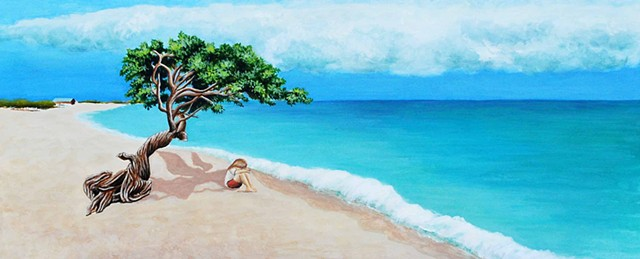 Beach Landscape painting, aruba, angel, carribbean seascape by Diane Daversa art