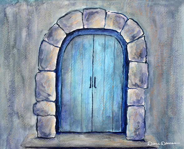 inspirational art, art for licensing, blue door painting by Diane Daversa, Quotes, sayings