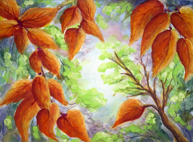 Fall Leaves painting by Diane Daversa, autumn painting, Diane Daversa art