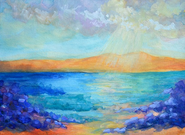 Beach painting, Landscape painting by diane daversa, seascape painting, Diane Daversa art