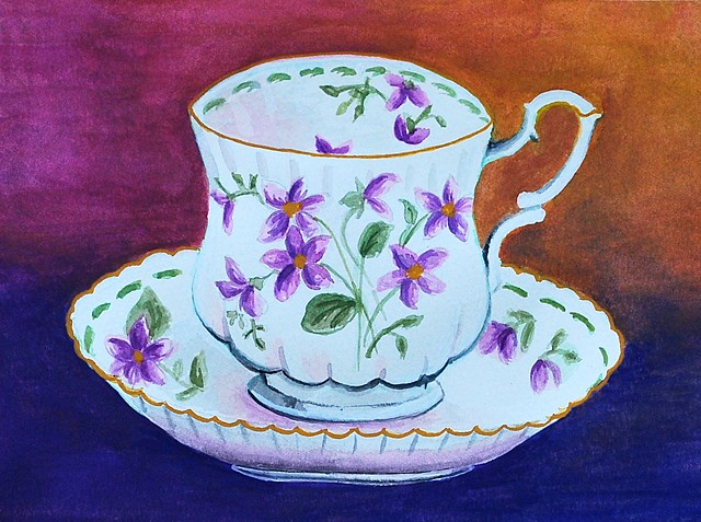 Tea Time Painting by Diane Daversa, tea cup