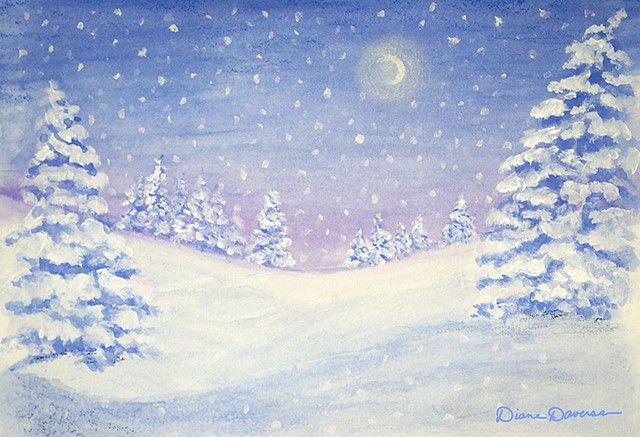 winter scene painting by Diane Daversa, holiday painting by Diane Daversa art