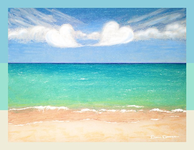 caribbean painting by Diane Daversa, caribbean scene, heart clouds